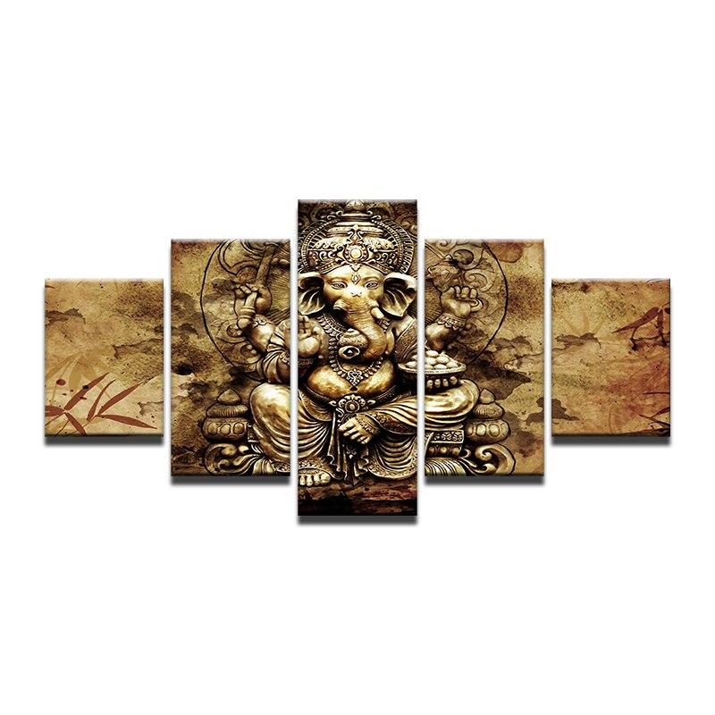 Moderno HD lona carteles Casa Decor 5 piezas India Ganesha pared arte elefante tronco Dios fotos