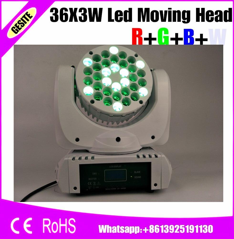 8 unids/lote RGBW 36x3 W LED haz Luz de cabeza móvil para DJ fiesta discoteca Bar