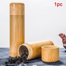 Pot conteneur rond naturel couvercle   Boîte à thé en bambou fait à la main, porte-couvercle de rangement Portable