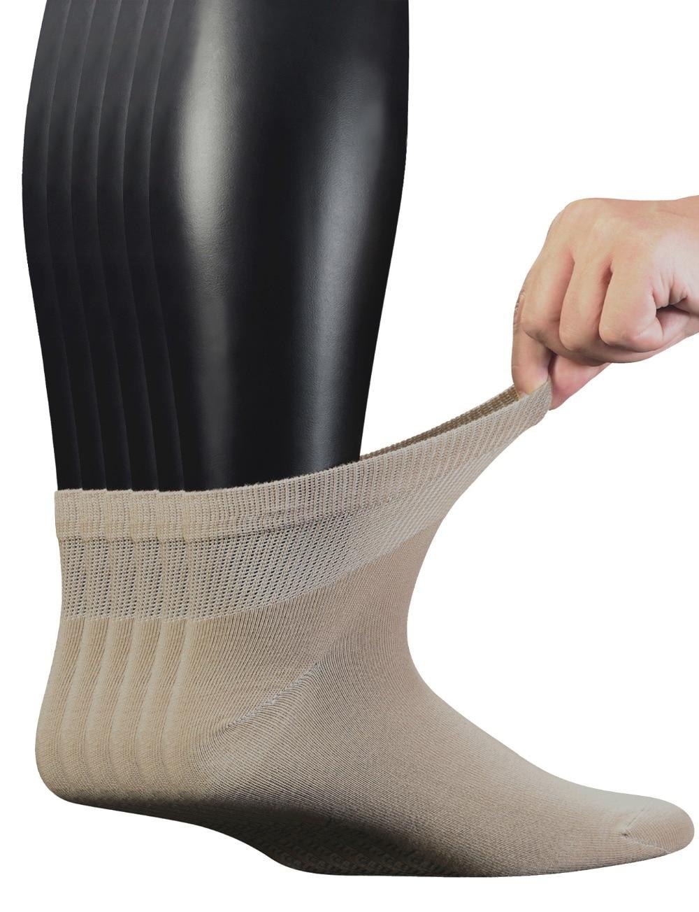 جوارب كاحل من القطن الممشط للرجال ، مع إصبع قدم غير ملحوم ، مقاس 10-13 ، 6 أزواج