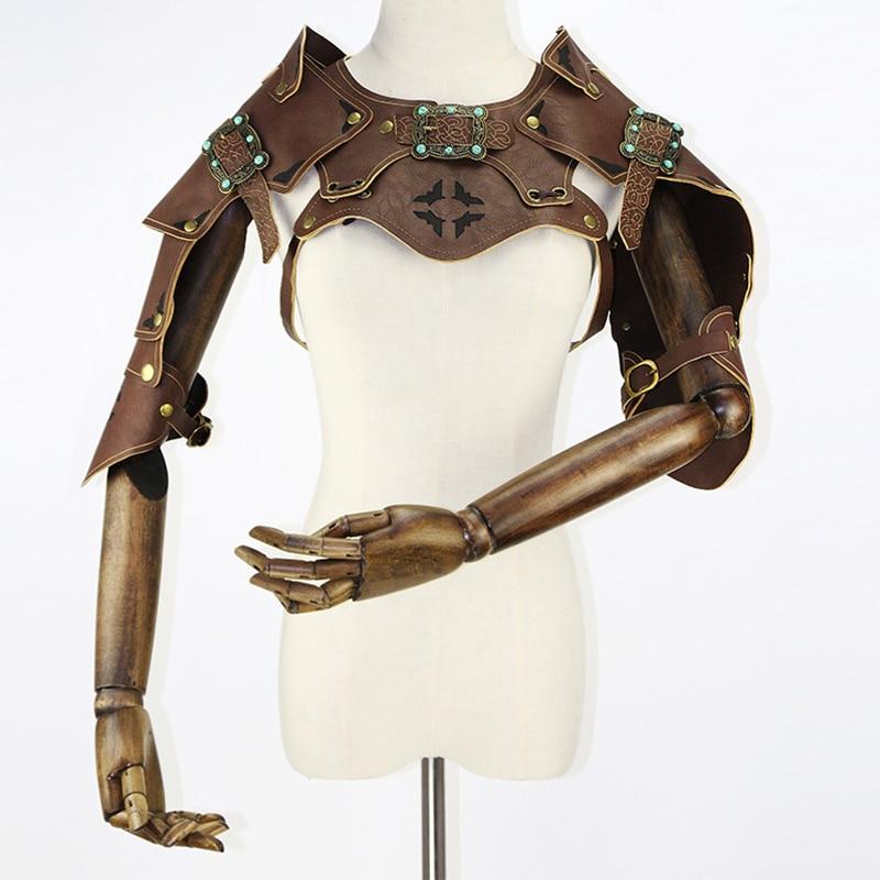 Corzzet de alta calidad de cuero marrón Retro armadura brazo Bolero cabo secreto chaqueta traje de Guerrero ropa Steampunk