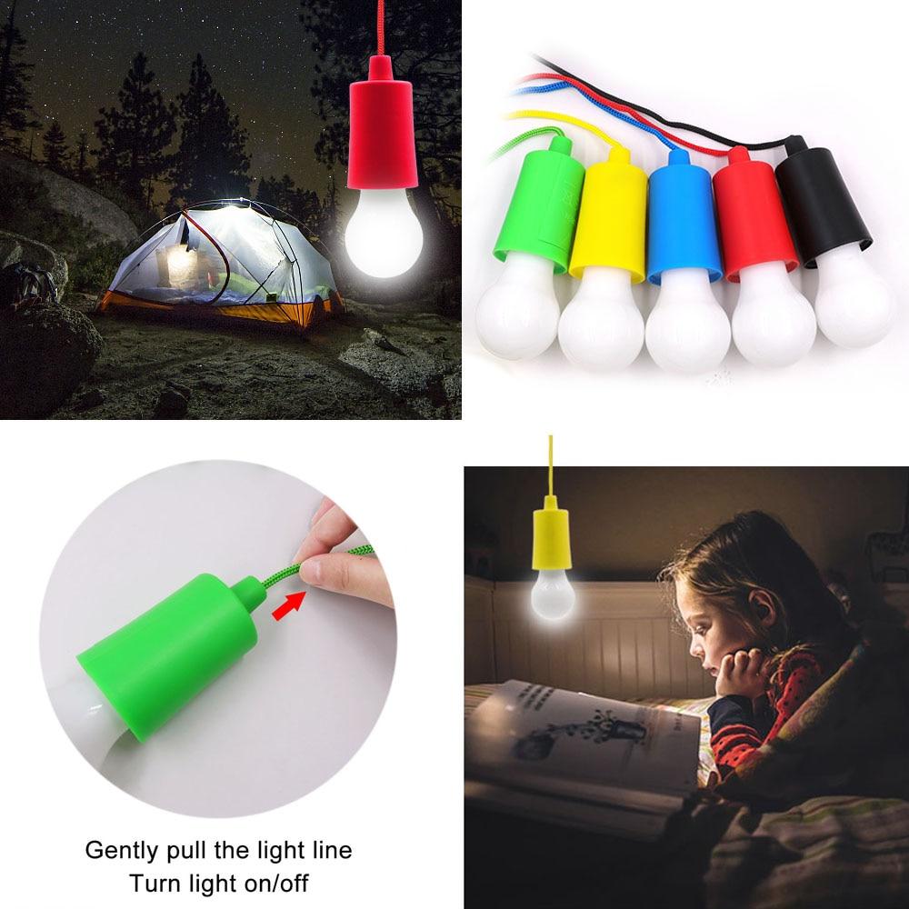 Novo portátil puxar cabo de luz lâmpada ao ar livre jardim de acampamento pendurado led lâmpada luz puxar cabo de luz lâmpada pendurado decoração led utensílio