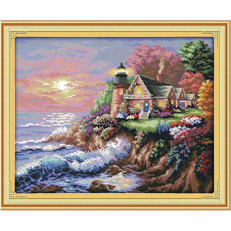 Pinturas de paisaje del faro de la playa, lienzo con cuentas, 14CT, 11CT, DMS, kits de bordado de punto de cruz, juegos de costura DIY