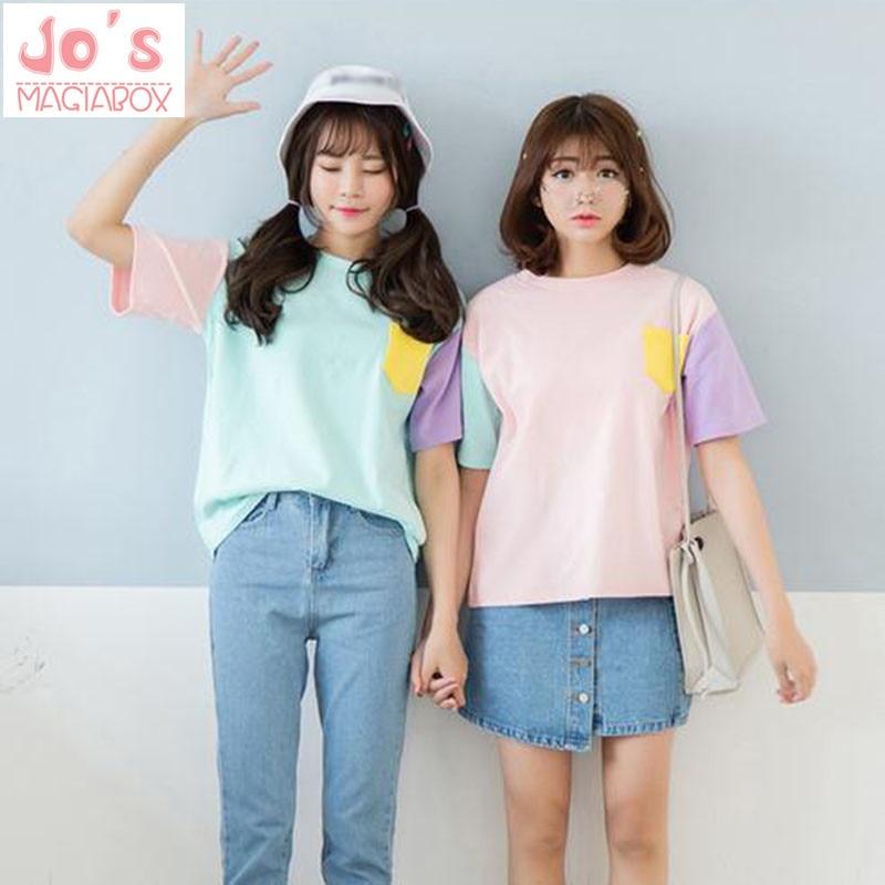 Camisetas de mujer Harajuku de estilo veraniego, camisetas de manga corta de algodón Kawaii, camisetas de mujer lindas, camisetas rosadas