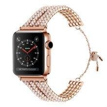 Bracelet de luxe pour femmes bijoux pour Apple Bracelet de montre 38mm 40mm 42mm 44mm dame diamant Bracelet de montre de fête pour Apple série 1/2/3/4/5