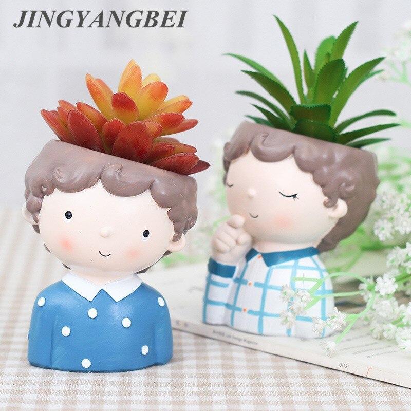 Flor menino plantas vaso estilo europeu plantas suculentas plantador pote mini bonsai cactus vaso de flores decoração para casa artesanato
