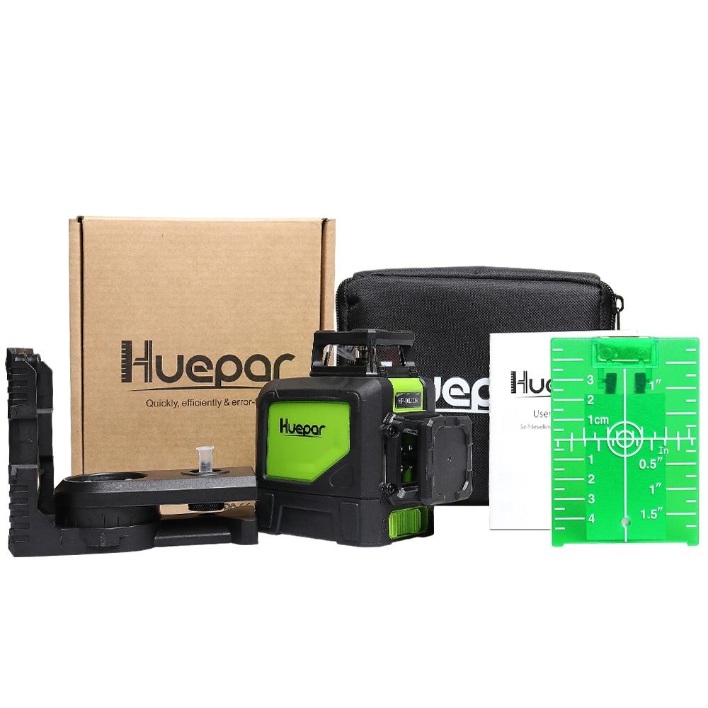 Купить с кэшбэком Huepar Self-leveling Professional Green Beam Cross Line Laser 360-Degree Coverage Horizontal and Vertical Line with Pulse Modes