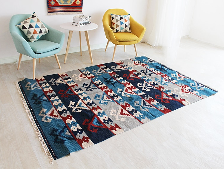 Kilim tapete de lã mão atada nova listagem modernismo do vintage tapete de lã geométrica