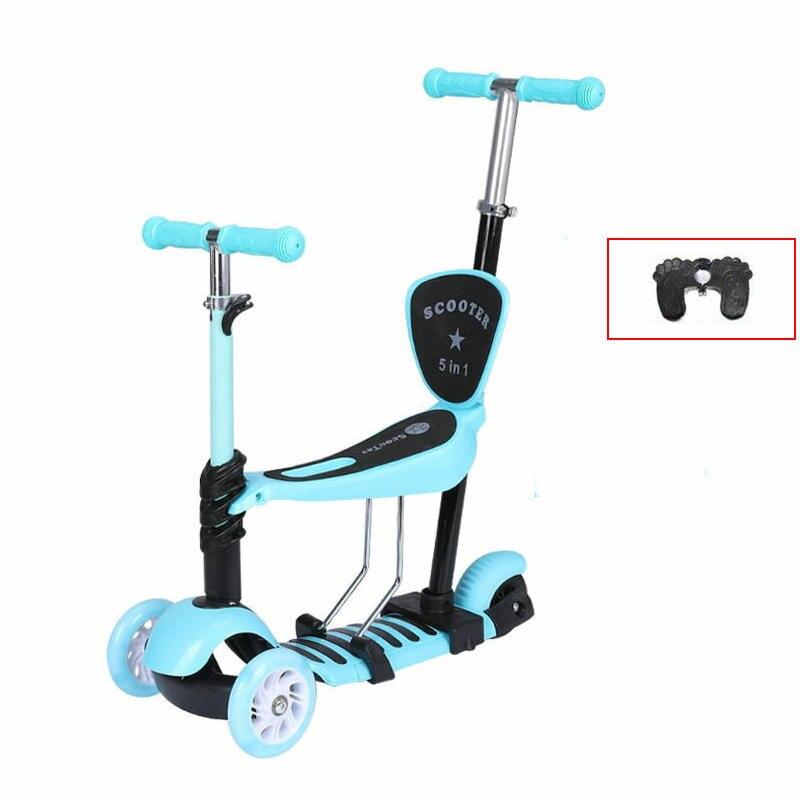 Mini patinete eléctrico de 3 ruedas 5 en 1, adecuado para 1-9 edades, Scooter infantil de altura ajustable, patinete portátil para niños con reposapiés grande