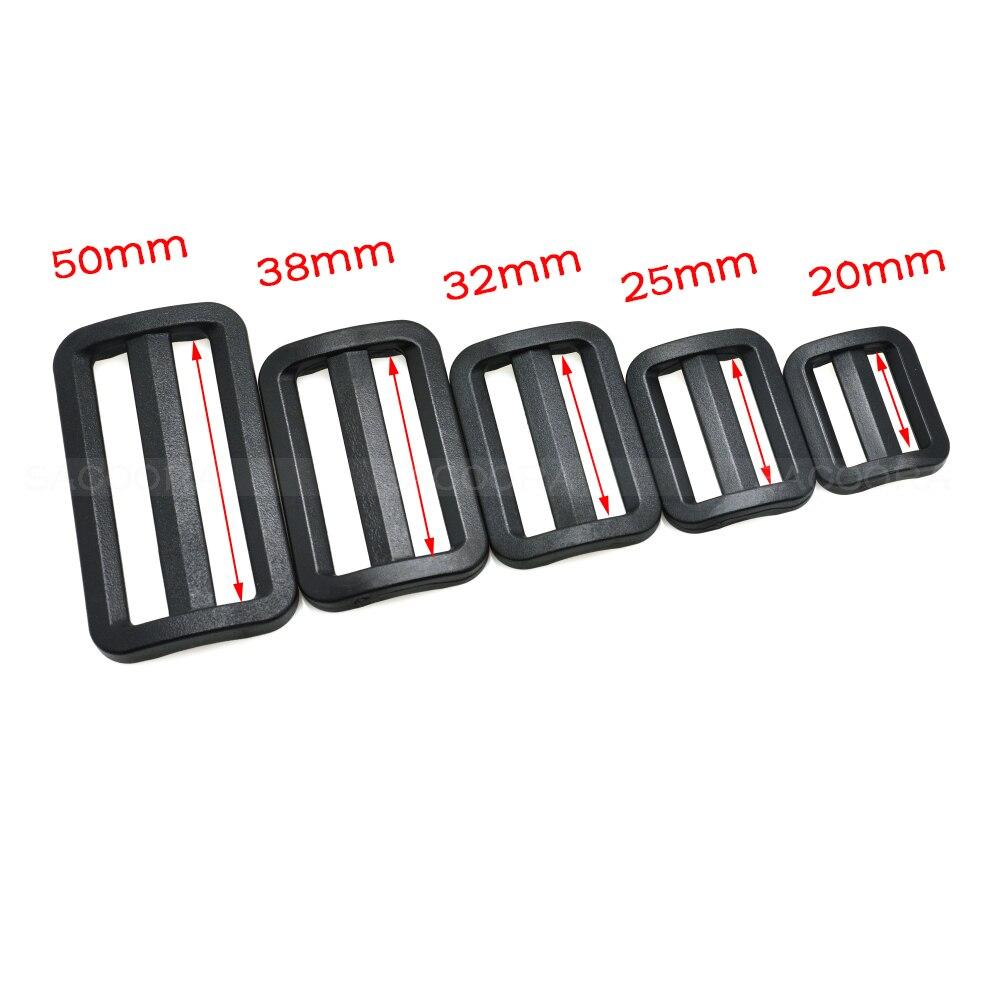5 unids/lote plástico negro curva Tri-deslizador ajustable hebilla ajustable para bolsas tamaño de la correa 20mm 25mm 32mm 38mm 50mm