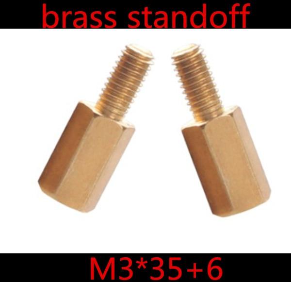 20 Stks/partij M3 x 35 + 6 M3 * 30 Man-vrouw Messing Standoff Spacer