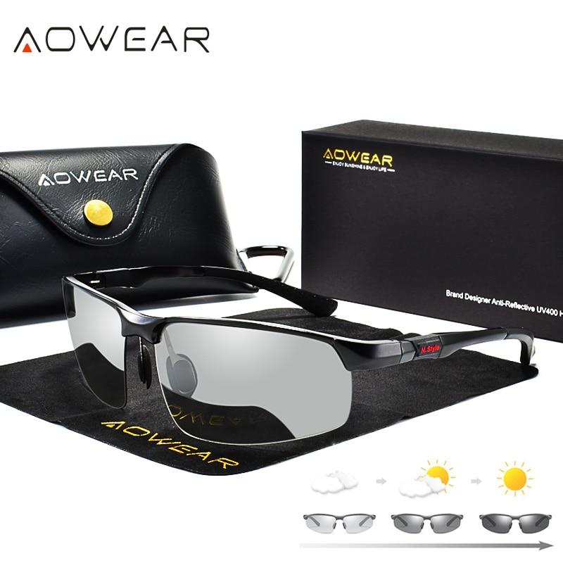 AOWEAR Photochromic Sunglasses Men Polarized Day Night Driving Glasses High Quality Aluminium Rimles
