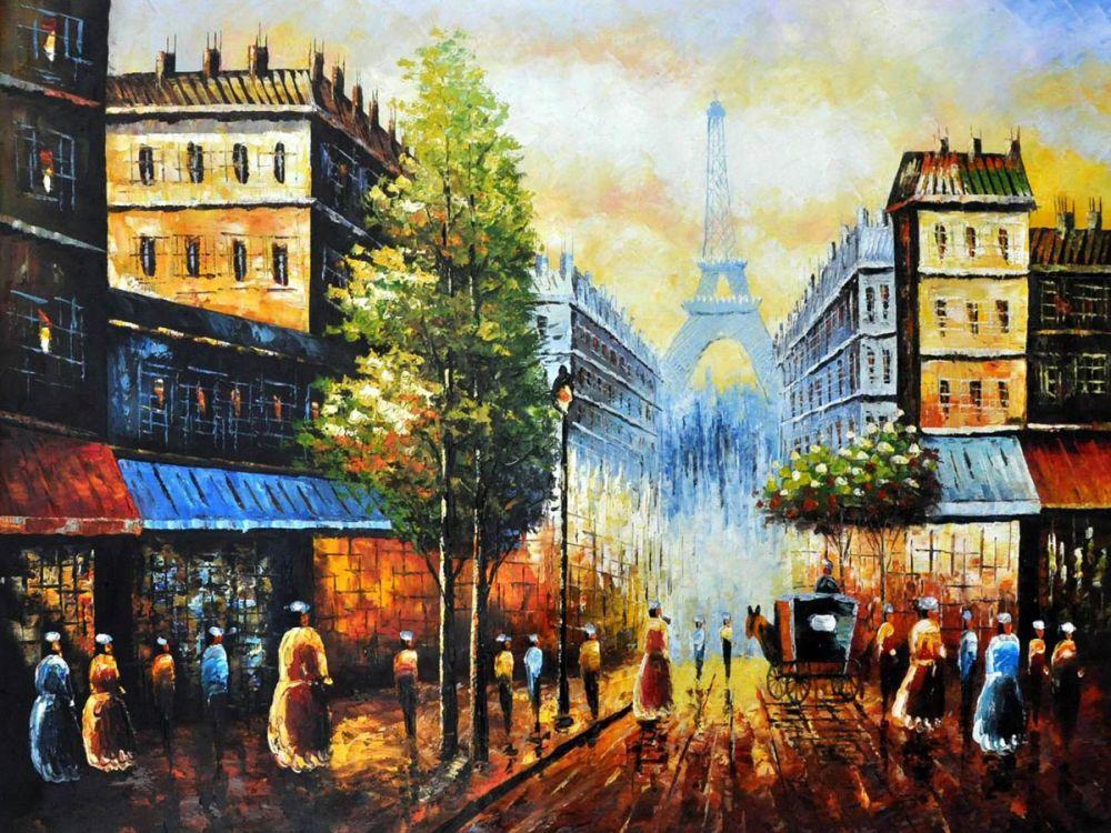 Arte Decorativo moderno pintura al óleo paisaje pared pintura sobre lienzo Vista nocturna de la Torre Eiffel 100% pintada a mano