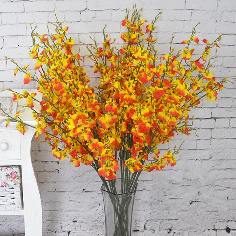 "Flores oncidio 94 cm/37 ""longitud 10 unids/lote orquídea Artificial blanca/amarilla/rosa/púrpura/ verde/naranja para flores de boda"