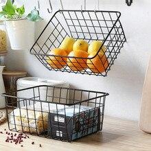Wall-mounted iron Storage Basket Free Punch bathroom organizer Kitchen Seasoning Storage Rack Home Hanging Basket