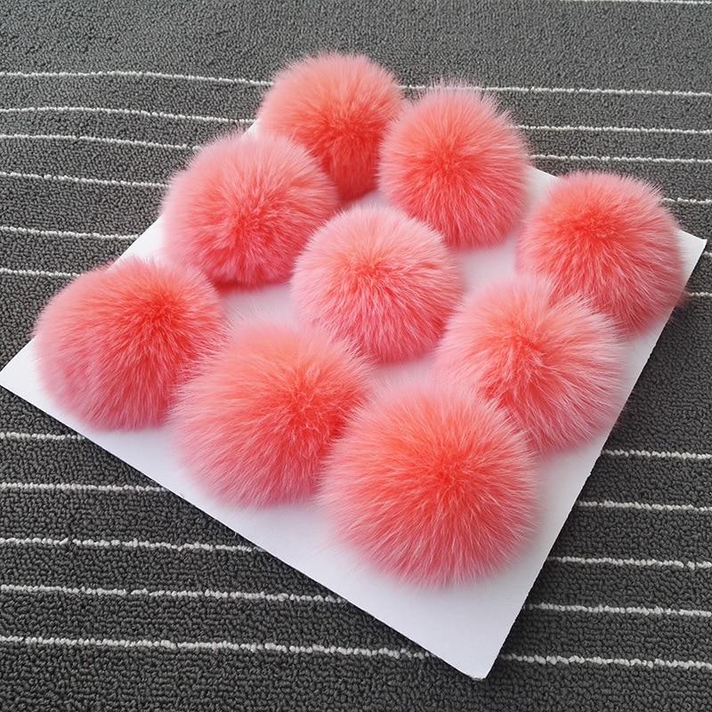10 unids/lote 8cm Bola de piel de zorro real pompones de piel esponjosa pompón DIY mujeres niños invierno sombrero Skullies gorro tejido R12A