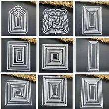 Cadres carrés carte courbes bordure faisant Scrapbooking matrices métal artisanat superposition métal découpe matrices carte de voeux à la main nouveau