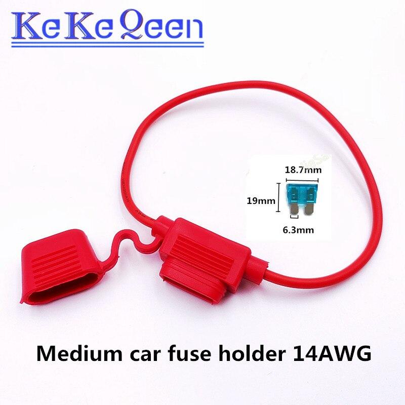 5 шт. 14AWG красный Средний автомобильный держатель предохранителя с средним автомобильным предохранителем, водонепроницаемый автомобильный...