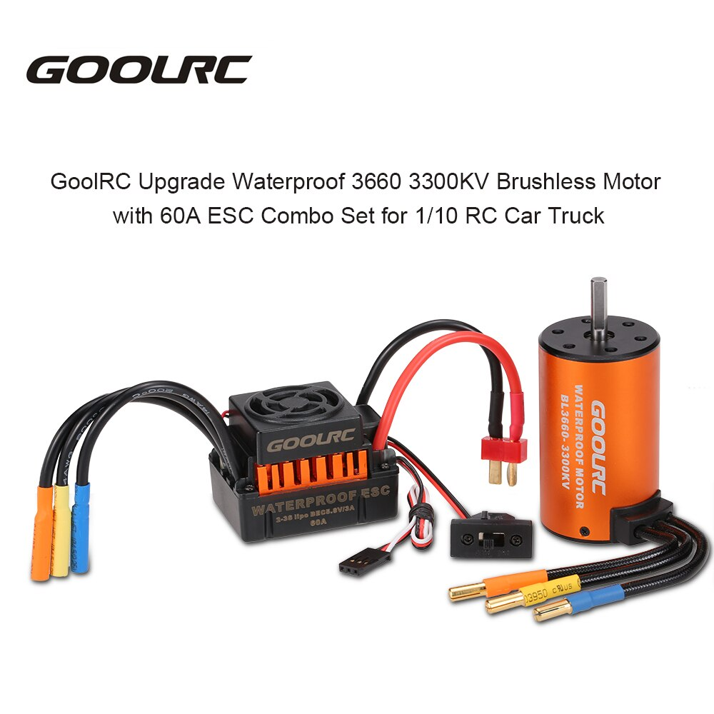 GoolRC actualización a prueba de agua RC Motor 3660 3300KV Motor sin escobillas & 60A ESC Combo Kit para coche RC 1/10 camión vehículo rock Crawler