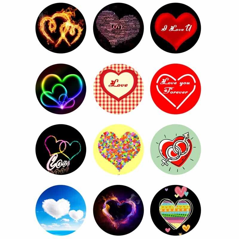 10mm 14mm 16mm 12mm 20mm 25mm 354 12 unids/lote corazón mezcla de vidrio redondo Cabochons de la joyería resultados 18mm botón Snap pulsera de encanto