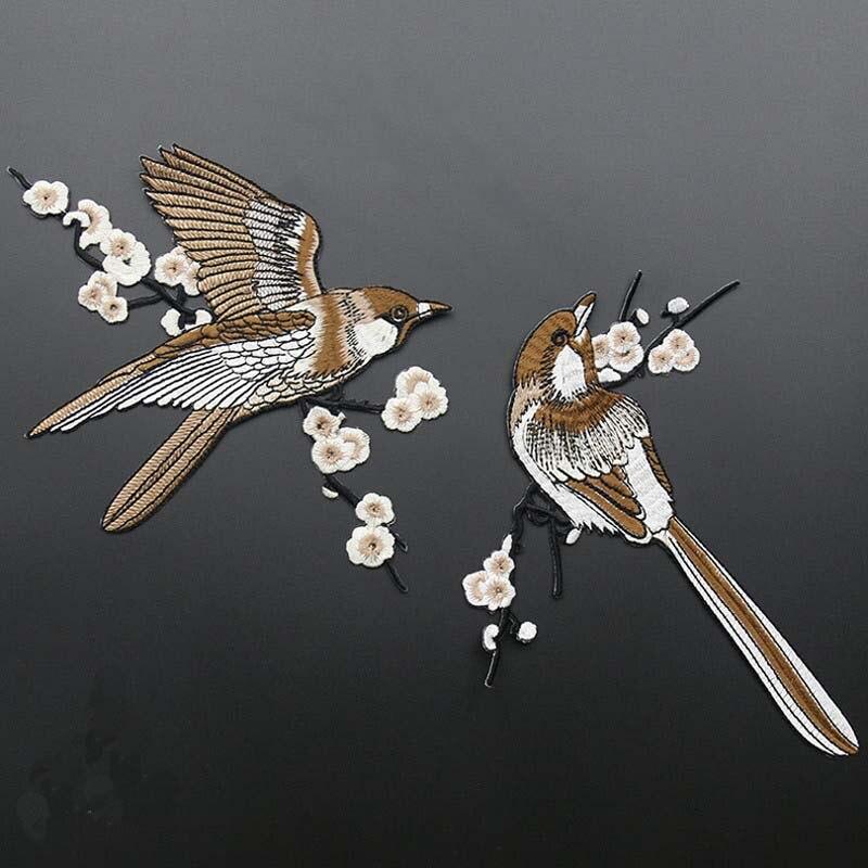 Parches con aves bordadas en hierro para coser Parches para ropa apliques bordados DIY suministros adhesivo para manualidades 1 par FSD06
