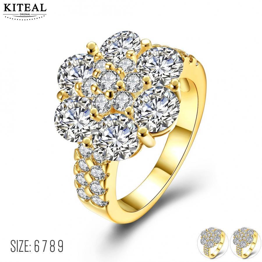 ¡Nueva llegada de KITEAL! Color dorado amarillo/blanco color blanco tamaño 6 7 8 9 anillos para mujer anillo redondo de circón hombres joias
