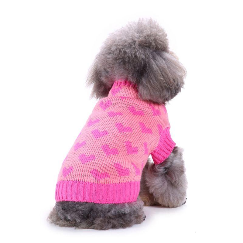 Pet Winter Woolen Pullover Hund Kleidung Liebe Herz Strickwaren Puppy Kleidung Warme Weiche Hohe Kragen Mantel Pet Welpen