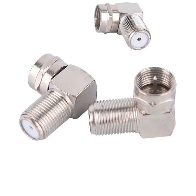 2шт штекер к гнезду 90 градусов правый угол ТВ антенна разъем адаптера штепсельная вилка к гнезду коаксиальный кабель F-Type