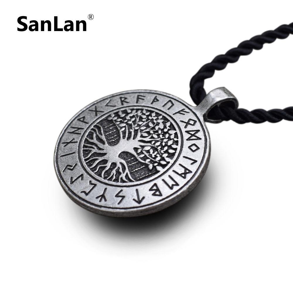 Colgante de árbol de la vida vikingo runa Yggdrasil, collar celta, árbol del mundo, mitología nórdica, collares nórdicos, amuleto de joyería