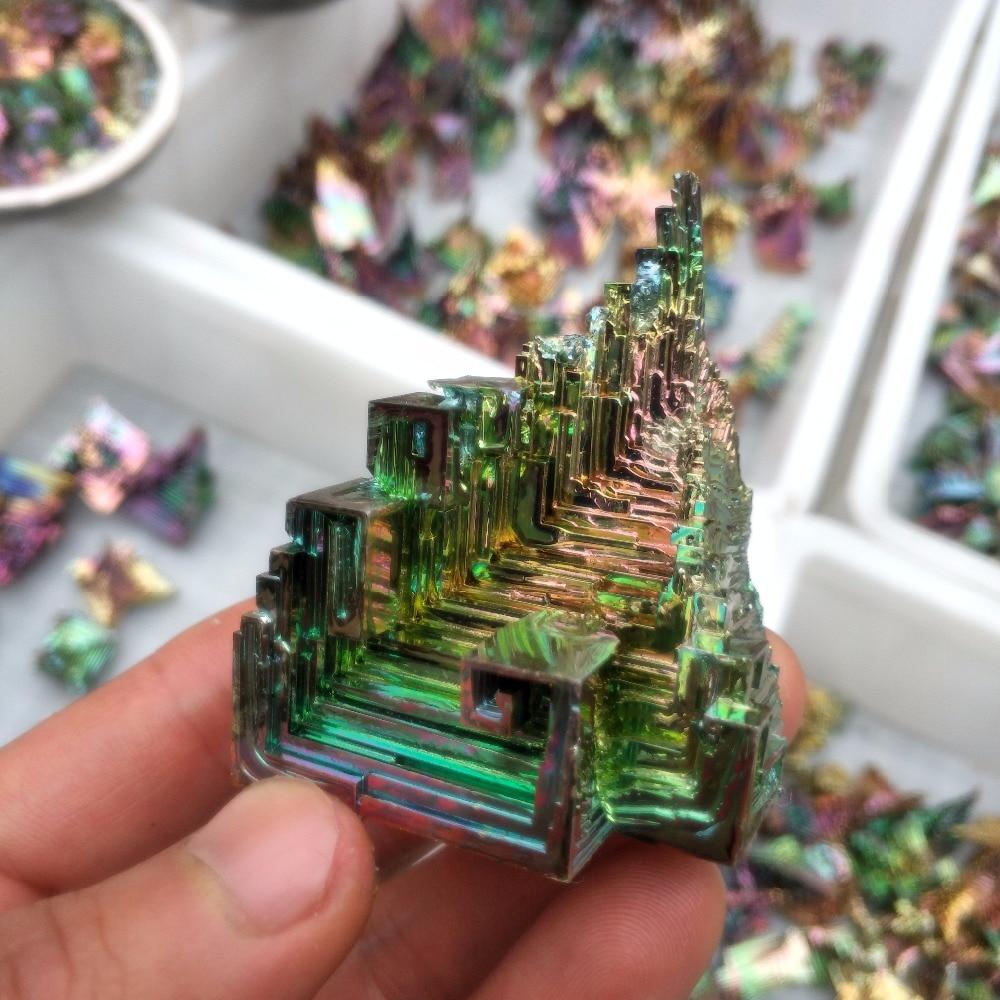 Bismuto 90-95g Linda rainbow espécime mineral de minério de cristal de cura do produto