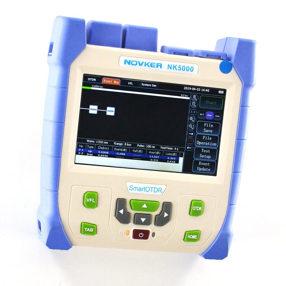 Pantalla táctil inteligente Novker Nk5000 5 pulgadas OTDR SM 1310/1550nm 28/26dB integrado VFL OPM y fuente de luz