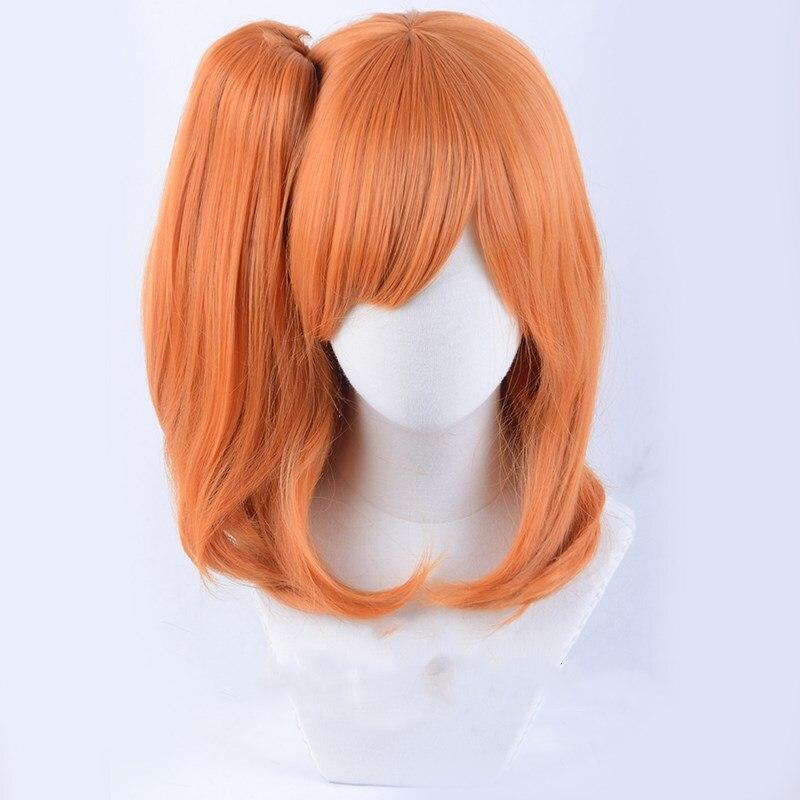 LoveLive! Kousaka honoka peruca cosplay laranja sintético hairpigtail halloween role play peruca para meninas adultas