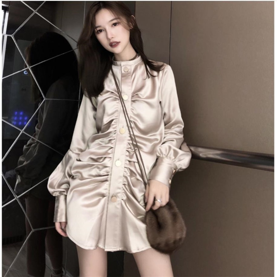2019 nueva moda Champagne Gold blusa contraste Color botones cintura ajustada Bat manga mujer camisa Vestido H152
