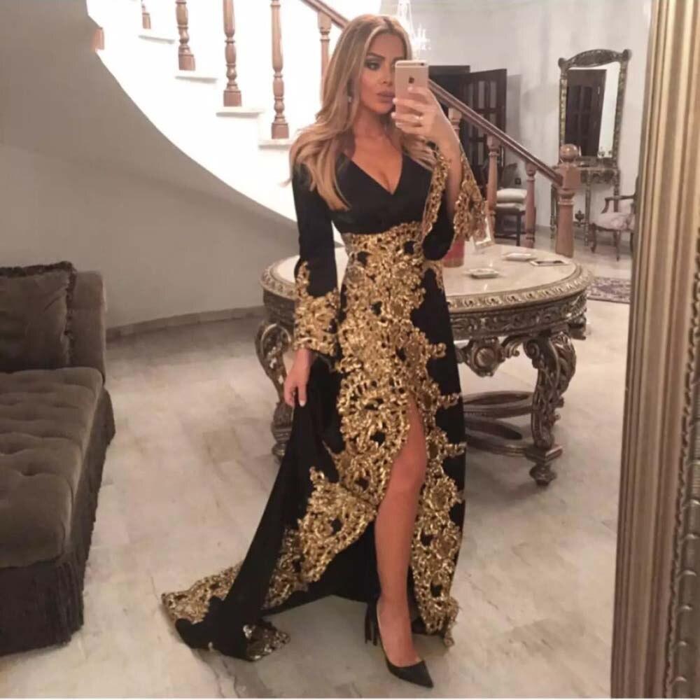 Платье женское вечернее из велюра, блестящее длинное золотистое кружевное пикантное вечернее с пышными рукавами, с разрезом, в стиле Саудов...