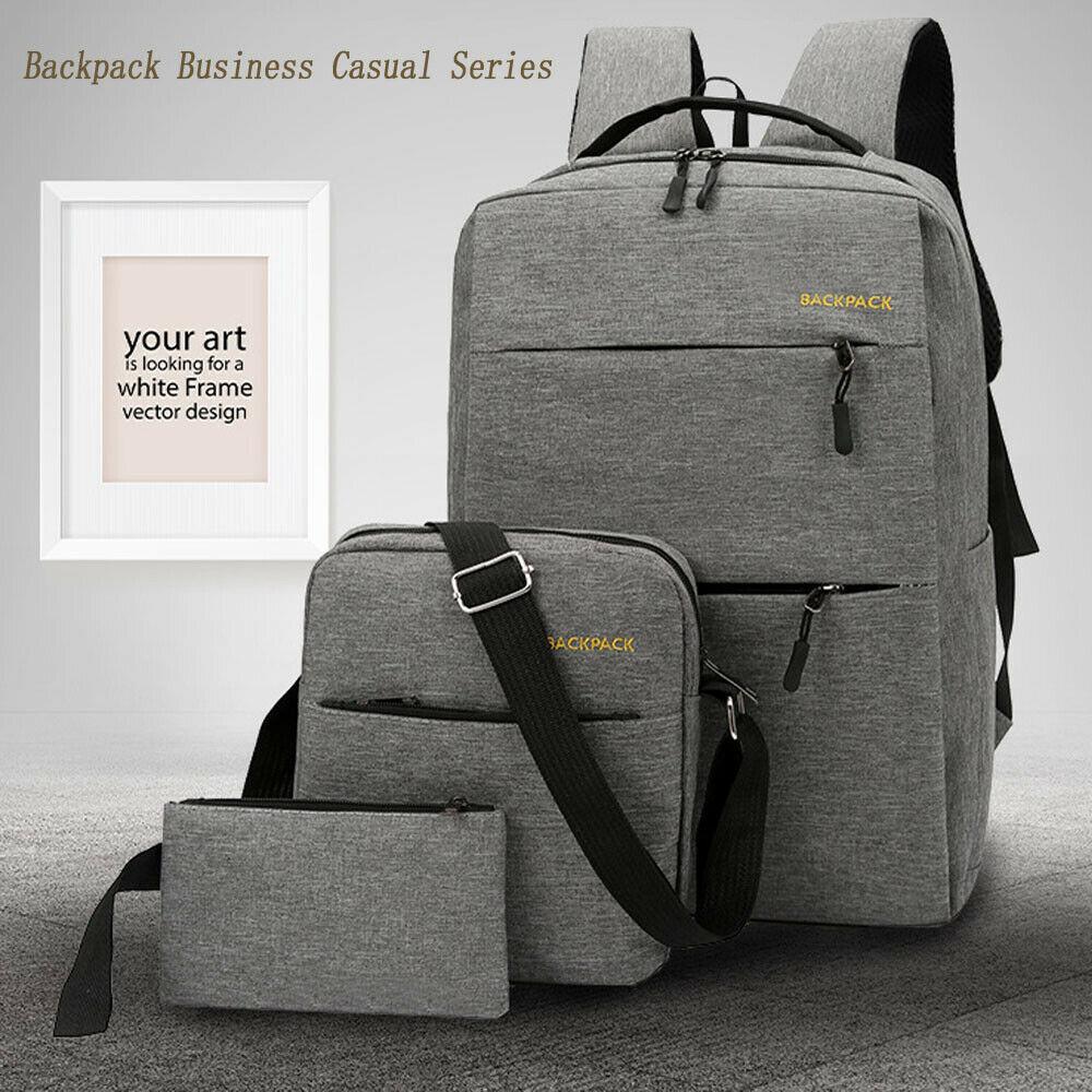 Mochila antirrobo para ordenador portátil para hombre, mochila multifunción para viajes de negocios, bolso escolar para canta, interfaz de carga USB, Juego de 3 piezas para el hombro