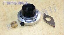 1 stks TOPVR hoogwaardige metal knop dial indicator count bijpassende multi turn potentiometer met schakelaar slot