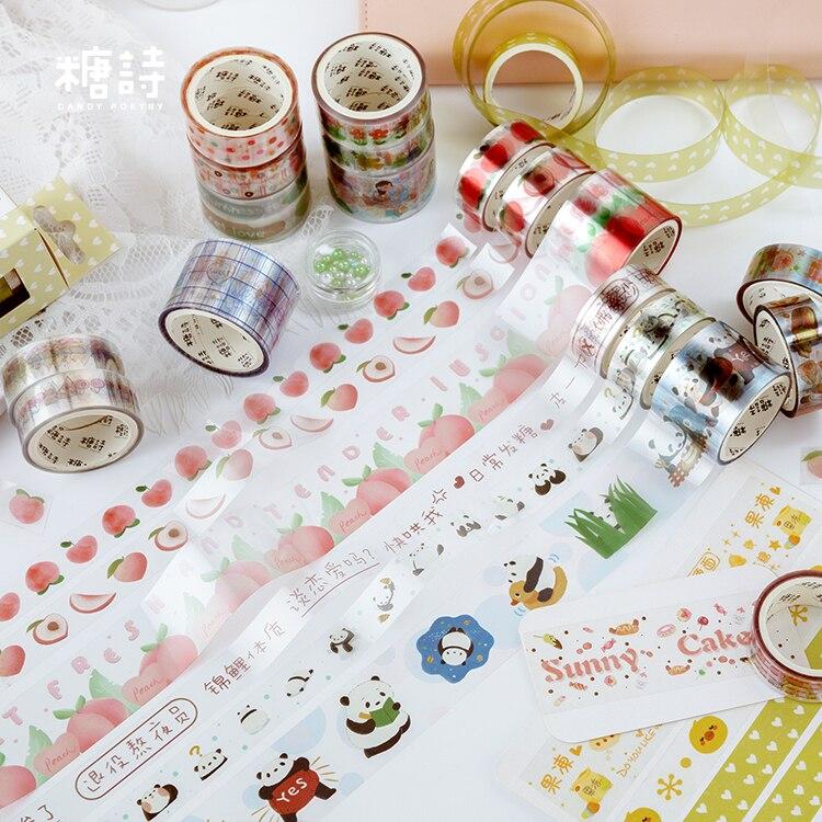 3 rollos/set estilo Pastoral/fresa/melocotón/flor/encaje/gourmet/animal mascota decoración transparente washi tape DIY cinta adhesiva