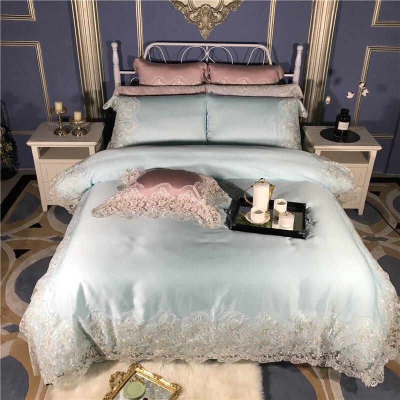 Luxo Princesa Rendas de Seda conjunto de Cama king size rainha lençol Rosa Azul Cama capa de Edredão set juego de cama parure de aceso adulte