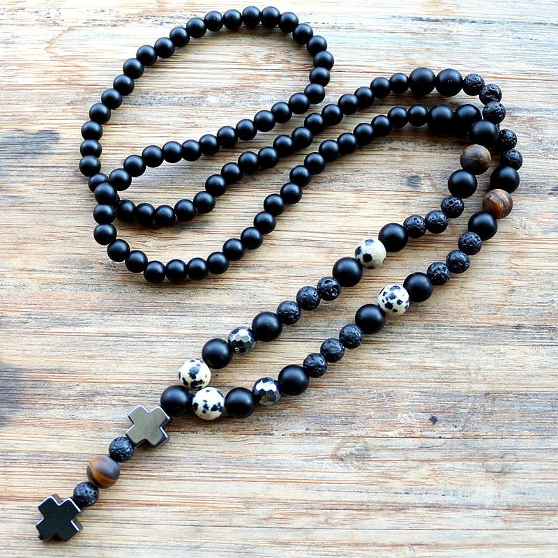 Nuevo diseño de moda negro hecho a mano de los hombres Cruz de hematita cuentas de collar de joyería de moda