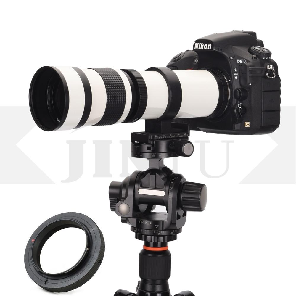 Jintu branco 420-800mm f/8.3-f16 foco manual telefoto lente zoom telescópio + montagem t2 para canon moldura completa dslr câmera digital