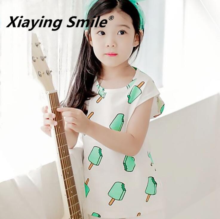 Одежда для малышей; Весенняя Детская футболка с круглым вырезом и короткими рукавами; детская одежда; модная повседневная одежда с принтом мороженого