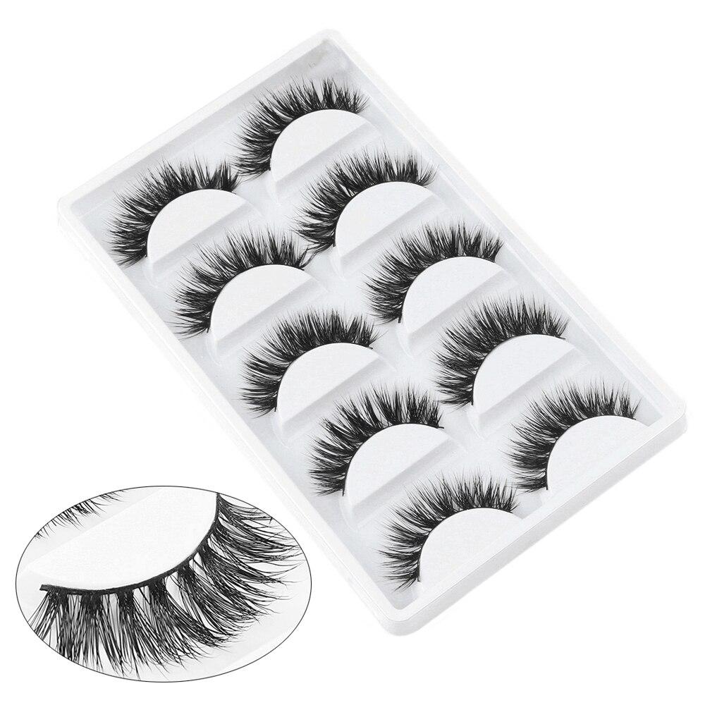 5 pares de pestañas postizas de pelo de visón de 100% naturales y gruesas hechas a mano pestañas de visón 3D belleza pestañas largas herramientas de extensión de maquillaje
