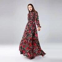 high quality 2019 new womens dress light cooked rose leopard print stand collar high waist big swing ladies dress spring summer