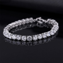 Bracelets de Tennis en zircon cubique de luxe de 4mm avec chaîne glacée Bracelet de mariage en cristal pour femmes et hommes, Bracelet couleur argent doré