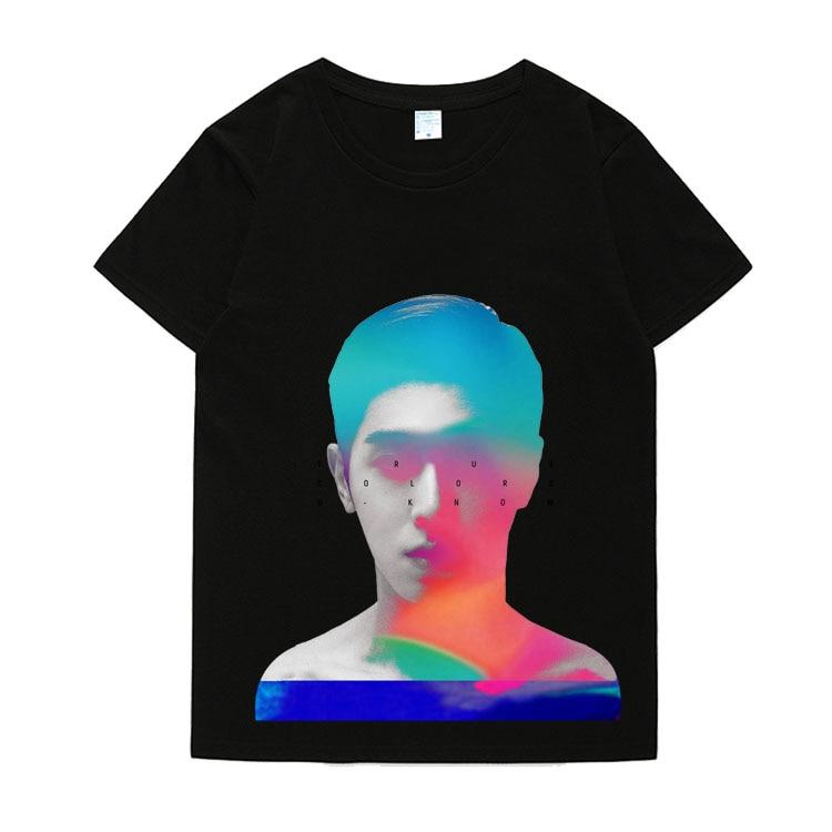 Nueva llegada kpop tvxq u-know album color verdadero concierto mismo retrato/nombre de impresión camiseta de moda o cuello Camiseta de manga corta