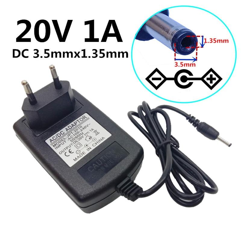 110 v 220 v para dc 20 v 1a adaptador de alimentação universal ue eua uk au plug 20 v fonte de alimentação dc tamanho 3.5x1.35mm transformador