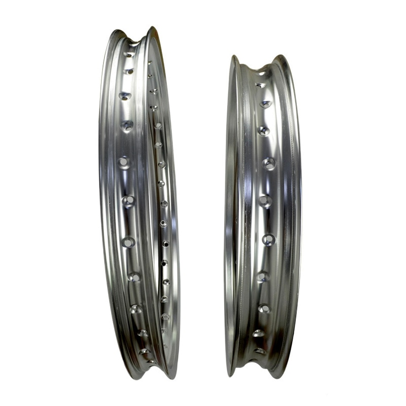 6061 Front + Rear Motorcycle Silver Rims Aviation Aluminum Wheel Circle 2.15x19 & 1.60x21 36 Spoke Hole High Strength Silver Rim