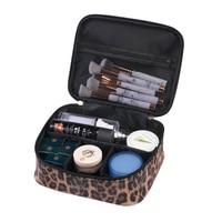 PU Leopard Makeup Organizer Girl Travel Cosmetic Box Women's Trip Bathroom Toiletry Wash Case Lipstick Make Up Brush Holders