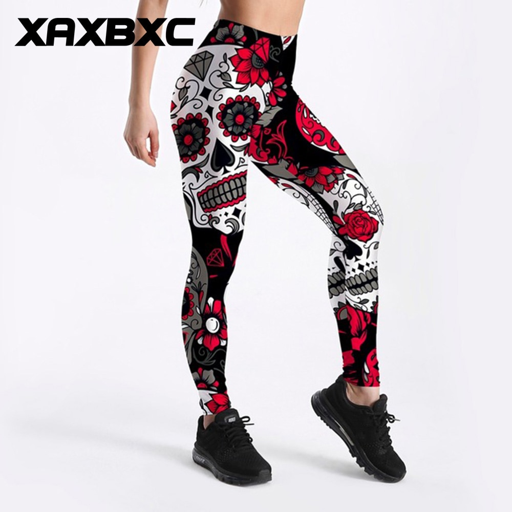 XAXBXC 3896 Sexy Girl Pencil Pant Dark Rose Individuality Diamond Prints Elastic Slim Fitness Workout Women Leggings Plus Size