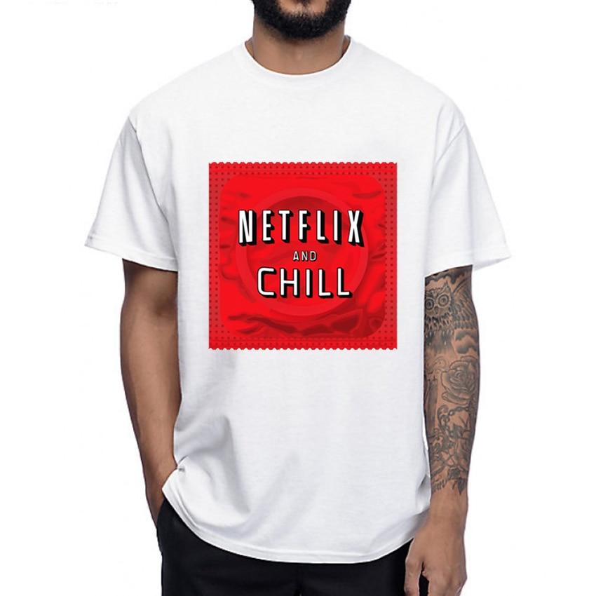 Netflix e relaxar preservativo humor T-Shirt Camisa dos homens T engraçado projeto carta Hip Hop Tops O Pescoço casual T-shirt do homem
